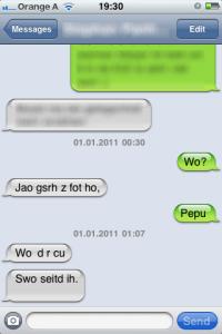 Eine typische Silvester-SMS
