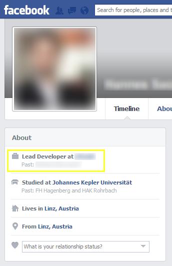 Mein Facebook-Profil auf Englisch. Alles ist, wie es sein soll.