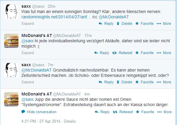Antwort von McDonalds, bereits Minuten später via Twitter